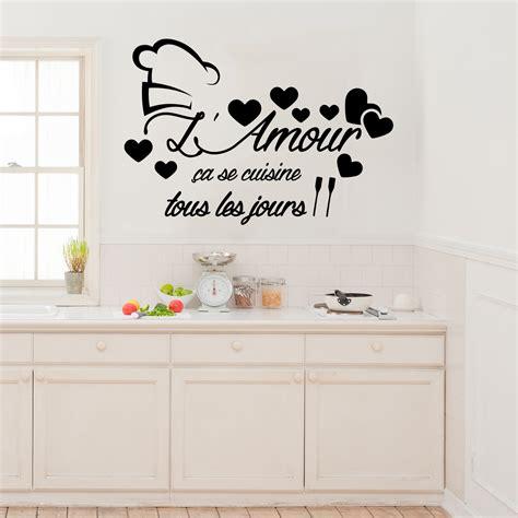stickers muraux cuisine citation sticker citation l amour 231 a se cuisine stickers