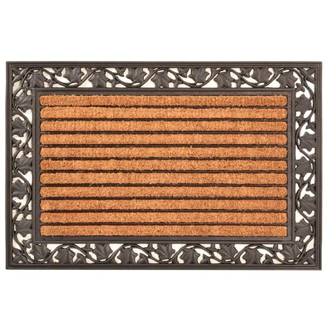 Outside Doormats - hometrax designs outdoor leaf 2 ft x 3 ft coir and