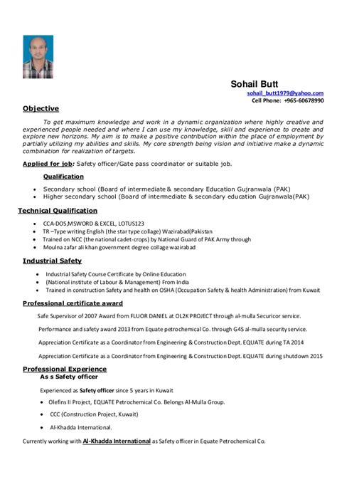 Sle Cv For Health And Safety Officer | safety professional resume objective virtren 28 images