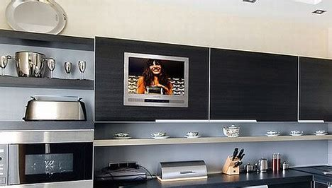 kitchen cabinet tv luxurite tv offers built in tv in kitchen cabinet ubergizmo