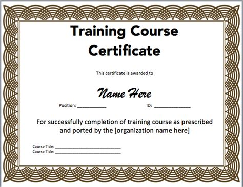 training certificate template microsoft word templates