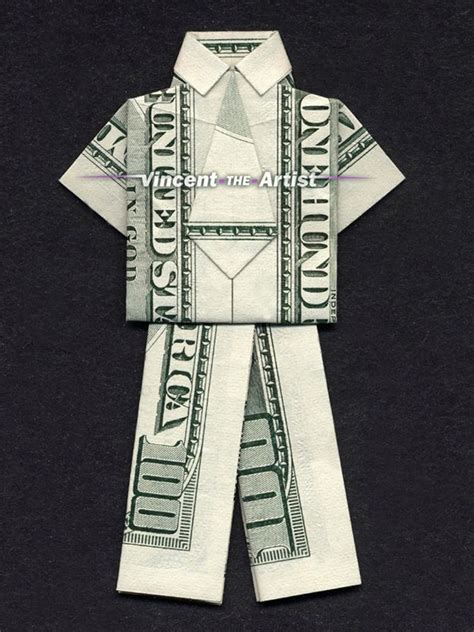 100 Dollar Bill Origami - business suit money origami clothes made of real dollar bill