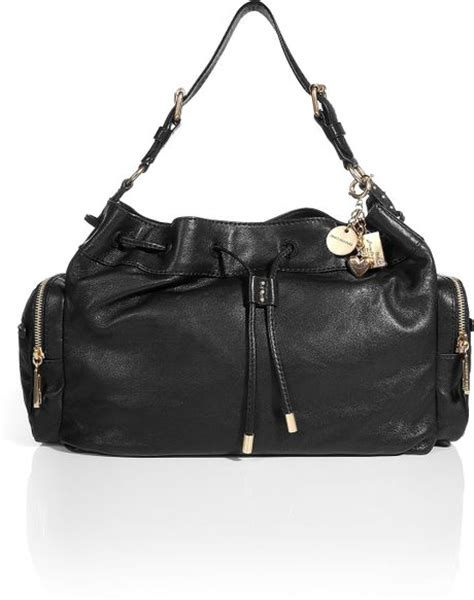 Couture Leather Shoulder Bag by Couture Black Leather Shoulder Bag In Black Lyst