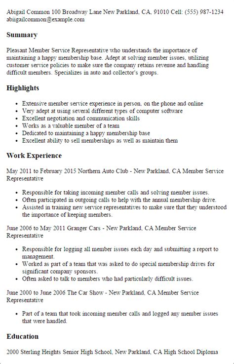 Golf Sales Representative Cover Letter by 1 Member Service Representative Resume Templates Try Them Now Myperfectresume