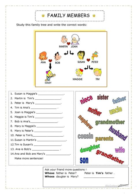 Family Activities 1 Worksheet My Family Worksheets For Grade 1 Tree Worksheet
