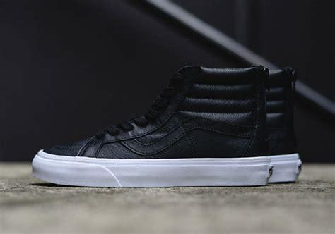 Sepatu Vans Sk8 Hi Premium black premium leather makes up this clean vans sk8 hi release sneakernews
