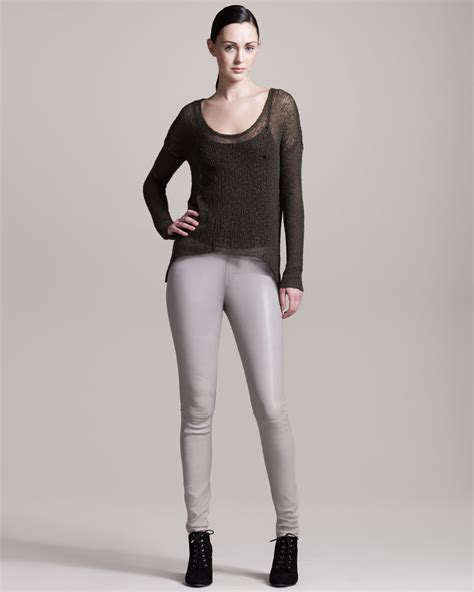26121 Gray Stretch Leather helmut lang stretch plonge leather in gray lyst