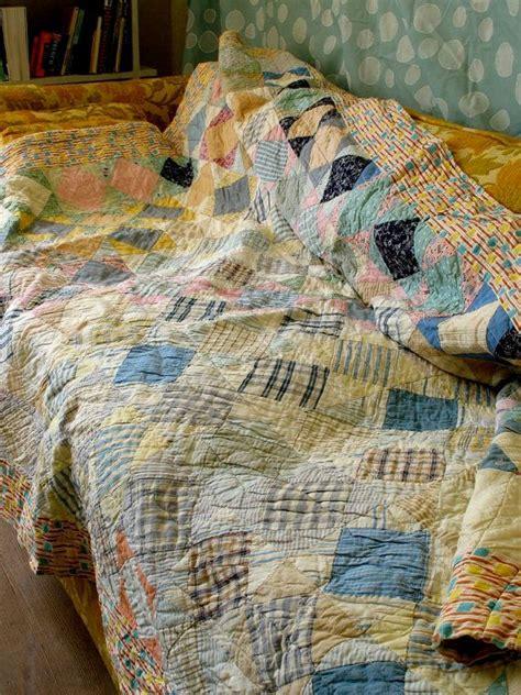 Vintage Patchwork Quilt - 1930 40s vintage patchwork quilt pastel patina