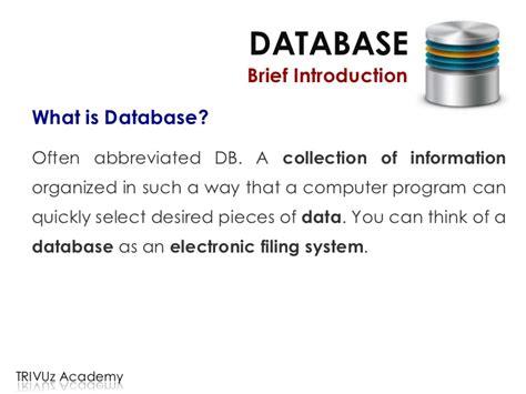 brief introduction database design implementation 1