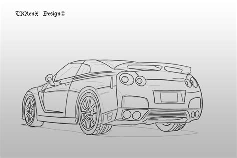nissan skyline drawing outline nissan skyline r35 back by trrenx on deviantart