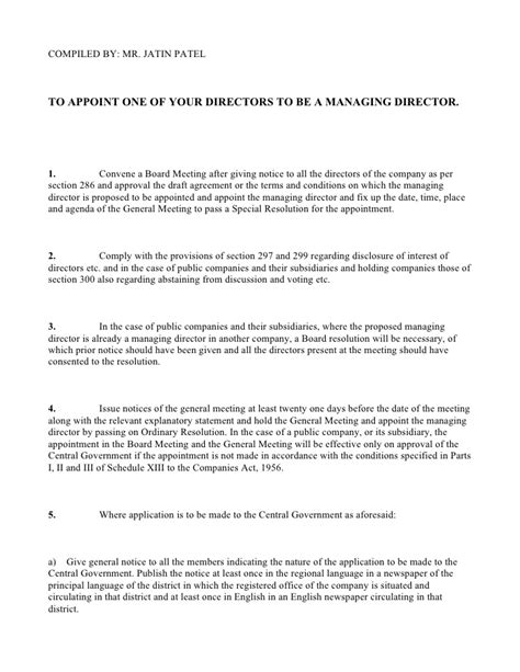 appointment letter format for board of directors appointment of managing or wholetime director