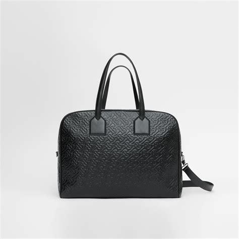 large monogram leather cube bag  black men burberry