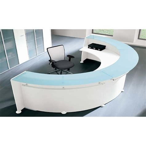 Circular Reception Desk Circular Reception Desk White Glass Counter Rd14 Huntoffice Ie