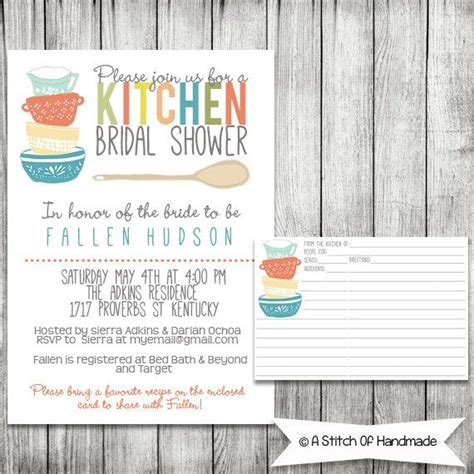 Kitchen Invitation Cards Templates by Kitchen Bridal Shower Invitation And Recipe Card Digital