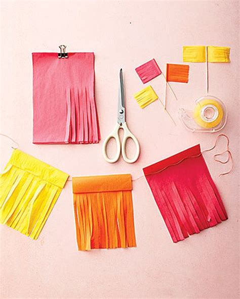 How To Make Tissue Paper Streamers - easy and inexpensive tissue paper cinco de mayo decorations