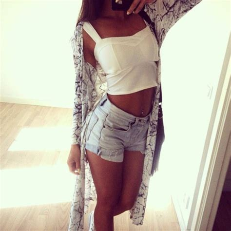 straight hair with outfits shorts blouse cardigan white tank top top denim long