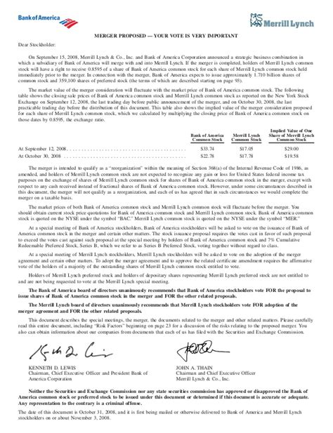 Bank Proxy Letter Bank Of America And Merrill Lynch Merger Proxy
