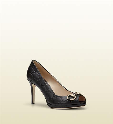 New Gucci Catur Kulit Leather Black lyst gucci new black guccissima leather midheel platform in black