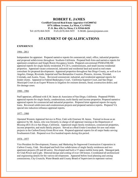 28 statement of qualifications template 10 sle