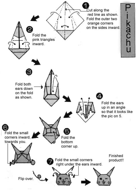 how to make an origami pikachu step by step step bye step origami images images