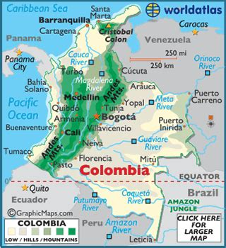 colombia on world map colombia map geography of colombia map of colombia