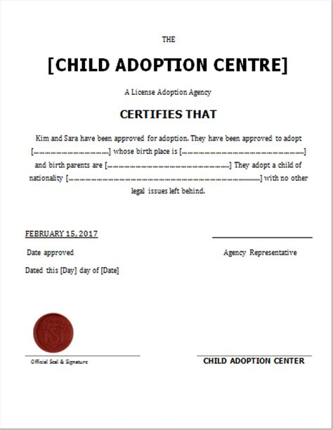 child adoption certificate template child adoption certificate template for word document hub