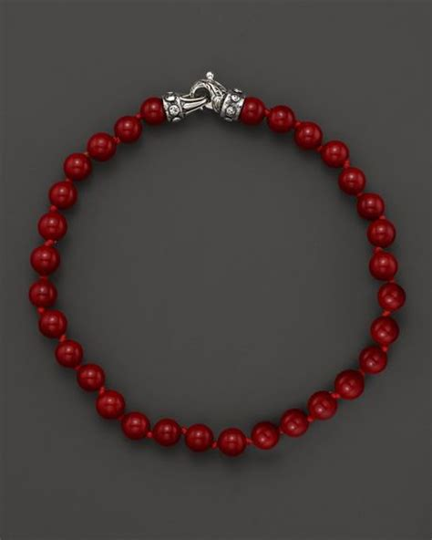 Scott Kay Mens Red Shell Beaded Bracelet 6mm in Red for Men (Silver/Red)   Lyst