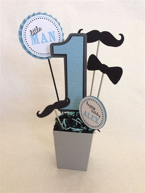little man mustache birthday party centerpiece decoration
