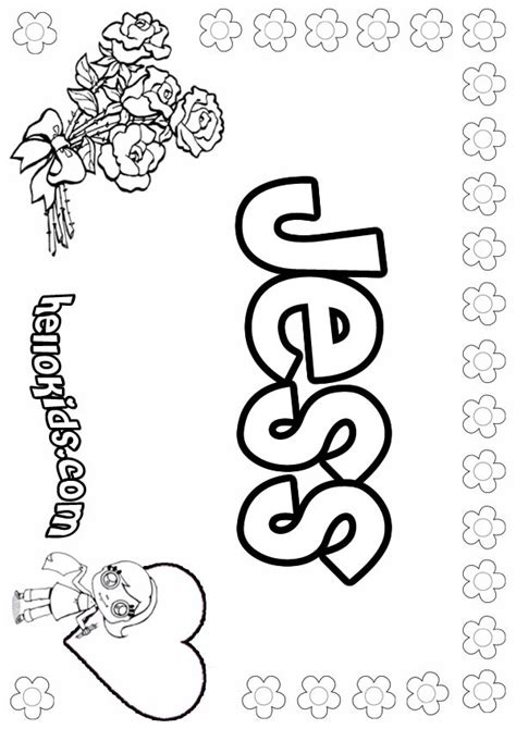 coloring pages for girl names jess coloring pages hellokids com