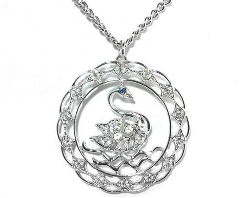 Swan Lake Choker 2 swan rhinestone necklace silver large pendant 70s coventry