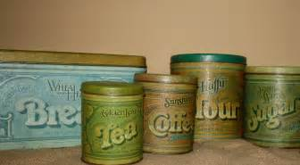 kitchen canister sets vintage vintage metal kitchen canisters set of 5