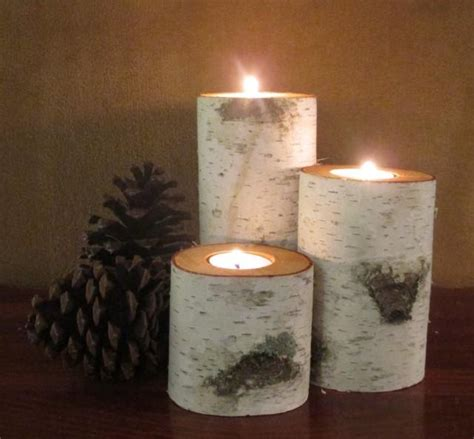 Home Decor Birch Wood Candle Holders Wedding Decor | home decor birch wood candle holders wedding decor