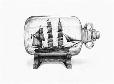 boat in a jar drawing ship in a bottle by hollycarden on deviantart
