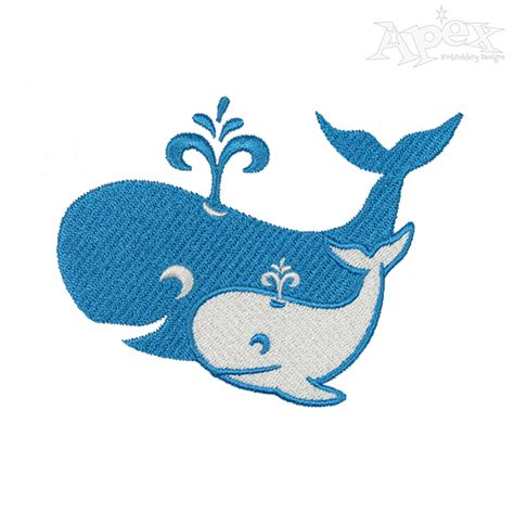 And Baby Whale Cuttable Design - whale and baby calf embroidery design