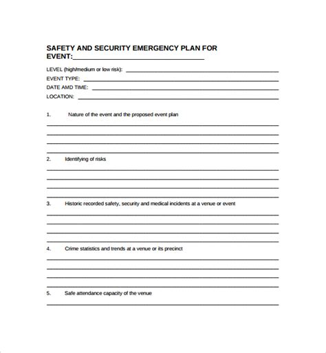 10 Security Plan Templates Sle Templates Event Safety Plan Template