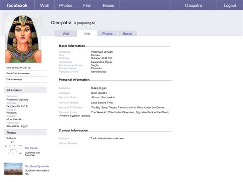 biography for facebook page facebook template use this to do the assignment cleopatra