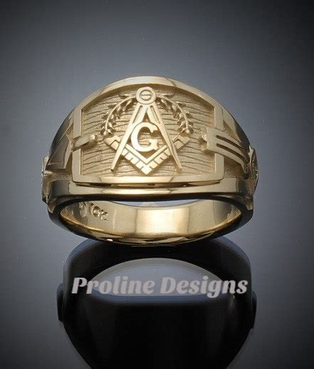 Handmade Gold Rings - masonic blue lodge ring cigar band style in gold