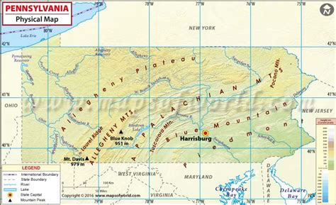 pennsylvania physical map physical map of pennsylvania
