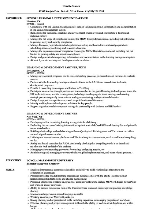 learning and development manager resume exles learning development partner resume sles velvet