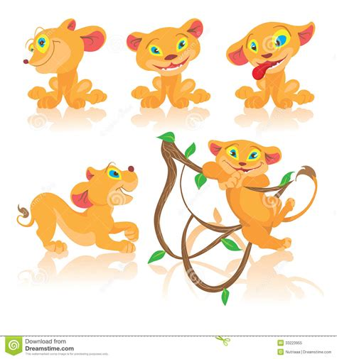 imagenes de leones animados set of cubs cartoon characters stock vector illustration