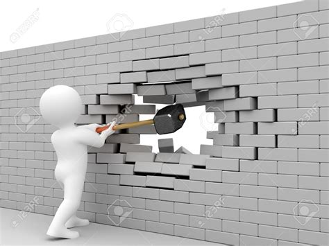 tearing a wall breaking through brick wall clipart 74