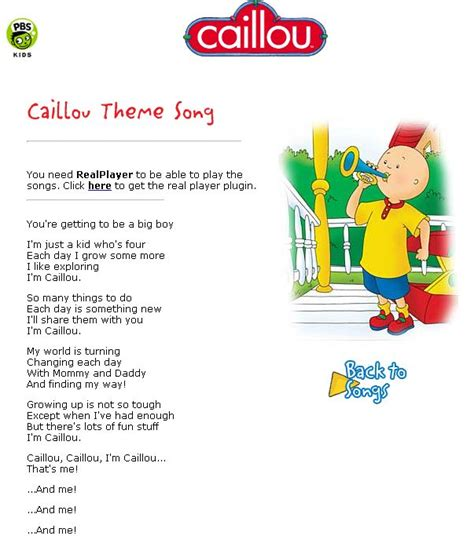 Theme Song Caillou | 115 best images about caillou printables on pinterest