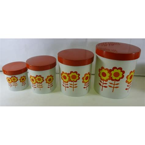 kitchen canister set of 4 retro flowers in oranges