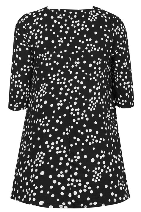 Code Dot Top Black Import black white longline polka dot print top with envelope neckline plus size 16 to 36