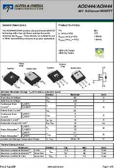 transistor fet d444 aod444 datasheet specifications mounting type surface mount fet type