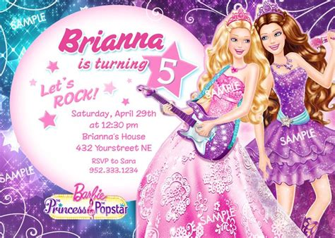 printable pop star party invitations 97 best images about barbie pop star party on pinterest