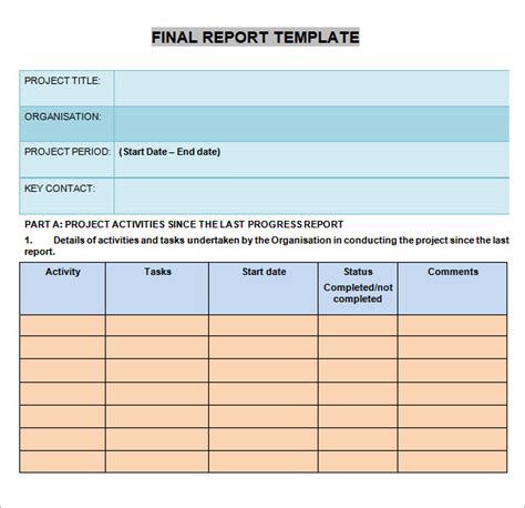 progress report templates 7 free documents in pdf word