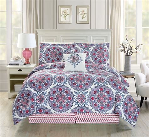 red floral bedding 5 piece medallion floral red blue white comforter set
