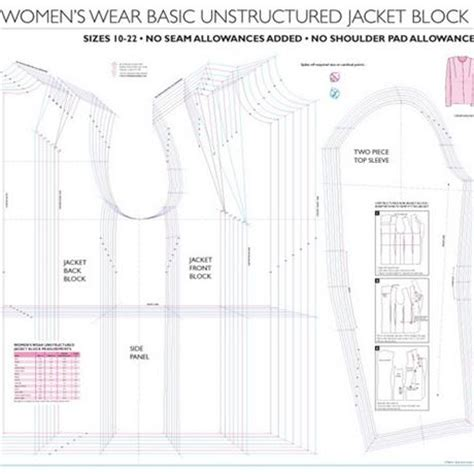 professional pattern grading for women s men s and womens basic unstructured jacket block