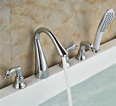 bathtub faucet set three handles bathroom tub mixer taps deck mount chrome